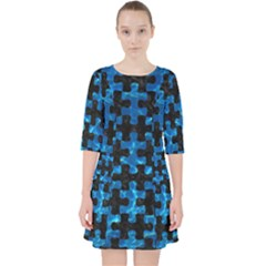 Puzzle1 Black Marble & Deep Blue Water Pocket Dress