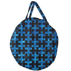 Puzzle1 Black Marble & Deep Blue Water Giant Round Zipper Tote