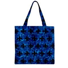Royal1 Black Marble & Deep Blue Water Zipper Grocery Tote Bag