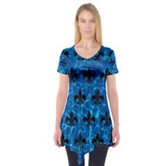 Royal1 Black Marble & Deep Blue Water Short Sleeve Tunic