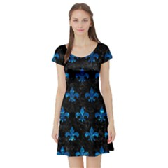 Royal1 Black Marble & Deep Blue Water (r) Short Sleeve Skater Dress