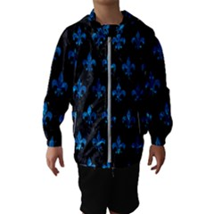 Royal1 Black Marble & Deep Blue Water (r) Hooded Wind Breaker (kids)