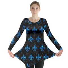 Royal1 Black Marble & Deep Blue Water (r) Long Sleeve Tunic
