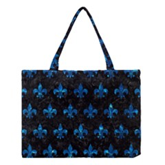 Royal1 Black Marble & Deep Blue Water (r) Medium Tote Bag