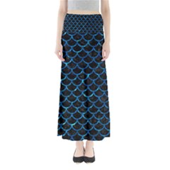 Scales1 Black Marble & Deep Blue Water Full Length Maxi Skirt