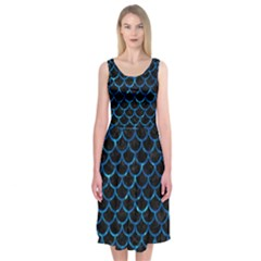 Scales1 Black Marble & Deep Blue Water Midi Sleeveless Dress
