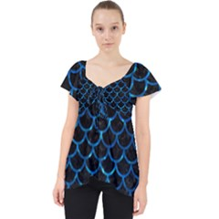 Scales1 Black Marble & Deep Blue Water Lace Front Dolly Top