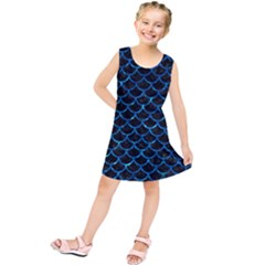 Scales1 Black Marble & Deep Blue Water Kids  Tunic Dress