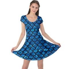 Scales1 Black Marble & Deep Blue Water (r) Cap Sleeve Dress