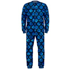 Scales1 Black Marble & Deep Blue Water (r) Onepiece Jumpsuit (men)