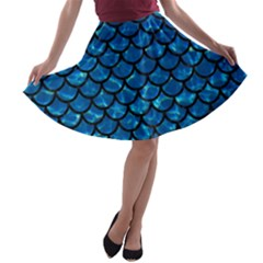 Scales1 Black Marble & Deep Blue Water (r) A Line Skater Skirt