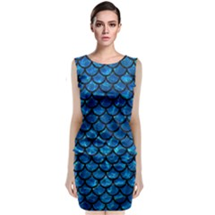 Scales1 Black Marble & Deep Blue Water (r) Classic Sleeveless Midi Dress