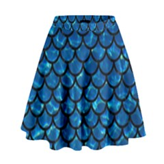 Scales1 Black Marble & Deep Blue Water (r) High Waist Skirt
