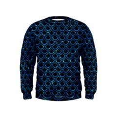 Scales2 Black Marble & Deep Blue Waterck Marble & Deep Blue Water Kids  Sweatshirt