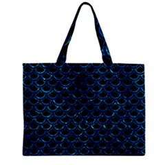 Scales2 Black Marble & Deep Blue Waterck Marble & Deep Blue Water Zipper Mini Tote Bag