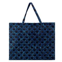 Scales2 Black Marble & Deep Blue Waterck Marble & Deep Blue Water Zipper Large Tote Bag