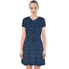 Scales2 Black Marble & Deep Blue Waterck Marble & Deep Blue Water Adorable In Chiffon Dress