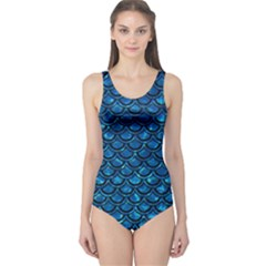 Scales2 Black Marble & Deep Blue Water (r) One Piece Swimsuit