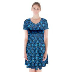 Scales2 Black Marble & Deep Blue Water (r) Short Sleeve V Neck Flare Dress