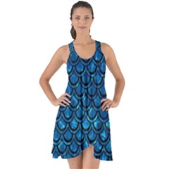 Scales2 Black Marble & Deep Blue Water (r) Show Some Back Chiffon Dress