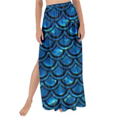 Scales2 Black Marble & Deep Blue Water (r) Maxi Chiffon Tie Up Sarong