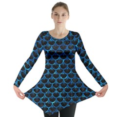 Scales3 Black Marble & Deep Blue Water Long Sleeve Tunic