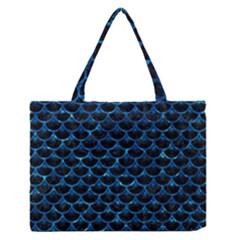Scales3 Black Marble & Deep Blue Water Zipper Medium Tote Bag