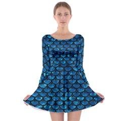 Scales3 Black Marble & Deep Blue Water (r) Long Sleeve Skater Dress