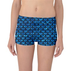 Scales3 Black Marble & Deep Blue Water (r) Reversible Boyleg Bikini Bottoms
