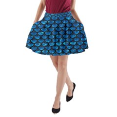Scales3 Black Marble & Deep Blue Water (r) A Line Pocket Skirt