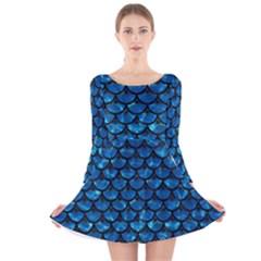 Scales3 Black Marble & Deep Blue Water (r) Long Sleeve Velvet Skater Dress