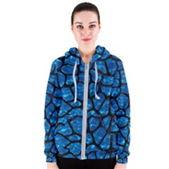 Skin1 Black Marble & Deep Blue Water Women s Zipper Hoodie