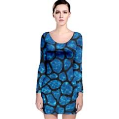 Skin1 Black Marble & Deep Blue Water Long Sleeve Velvet Bodycon Dress