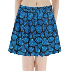 Skin1 Black Marble & Deep Blue Water Pleated Mini Skirt