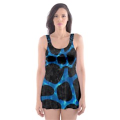Skin1 Black Marble & Deep Blue Water (r) Skater Dress Swimsuit