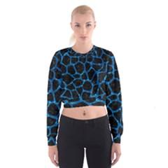 Skin1 Black Marble & Deep Blue Water (r) Cropped Sweatshirt
