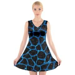 Skin1 Black Marble & Deep Blue Water (r) V Neck Sleeveless Skater Dress