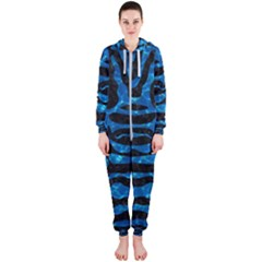 Skin2 Black Marble & Deep Blue Water Hooded Jumpsuit (ladies)