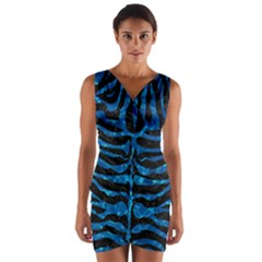 Skin2 Black Marble & Deep Blue Water Wrap Front Bodycon Dress