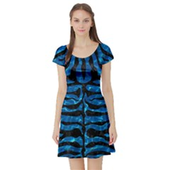 Skin2 Black Marble & Deep Blue Water (r) Short Sleeve Skater Dress