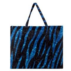 Skin3 Black Marble & Deep Blue Water Zipper Large Tote Bag