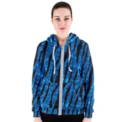 Skin3 Black Marble & Deep Blue Water (r) Women s Zipper Hoodie