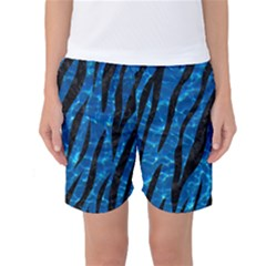 Skin3 Black Marble & Deep Blue Water (r) Women s Basketball Shorts
