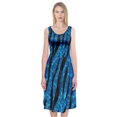 Skin3 Black Marble & Deep Blue Water (r) Midi Sleeveless Dress