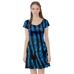 Skin4 Black Marble & Deep Blue Water (r)skin4 Black Marble & Deep Blue Water (r) Short Sleeve Skater Dress
