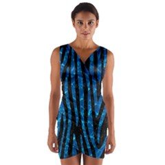 Skin4 Black Marble & Deep Blue Water (r)skin4 Black Marble & Deep Blue Water (r) Wrap Front Bodycon Dress