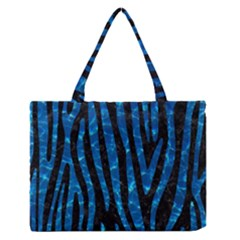 Skin4 Black Marble & Deep Blue Water (r)skin4 Black Marble & Deep Blue Water (r) Zipper Medium Tote Bag