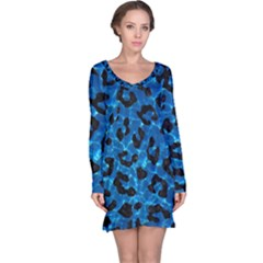 Skin5 Black Marble & Deep Blue Water Long Sleeve Nightdress