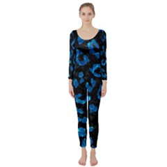 Skin5 Black Marble & Deep Blue Water (r) Long Sleeve Catsuit