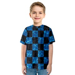 Square1 Black Marble & Deep Blue Water Kids  Sport Mesh Tee